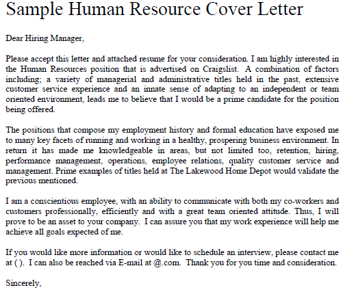 Sample Human Resources Cover Letter: Pin By DIY Home Decor On Job Application Forms