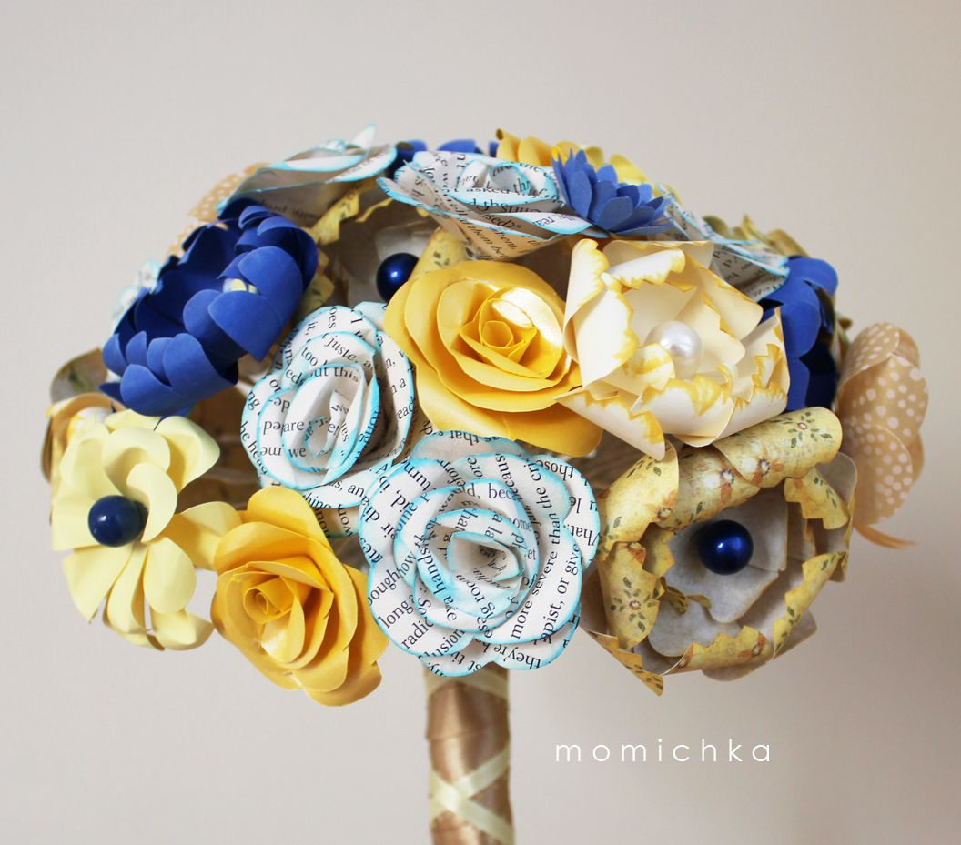Momichka Wedding Bouquets in YELLOW COBALT BLUE and BOOK PAPER
