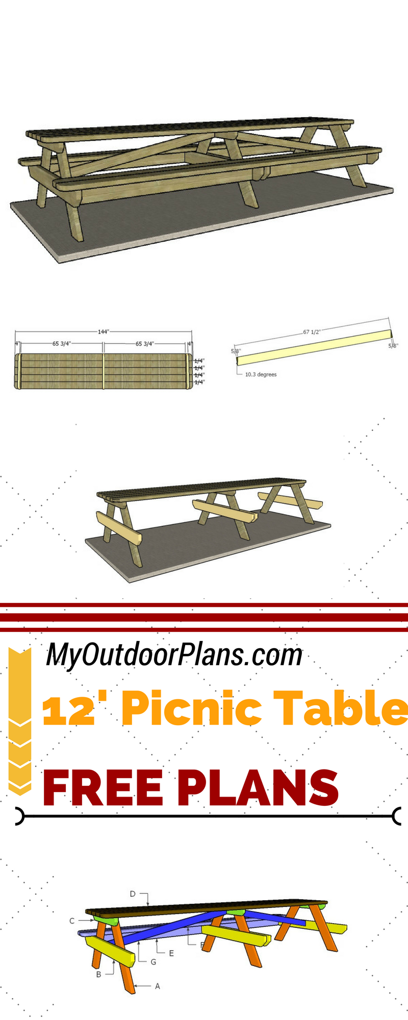 Check Out Free Plans For Building A 12 Foot Picnic Table Learn How To Build A Large Picnic Table S Woodworking Plans Free Picnic Table Plans Diy Picnic Table