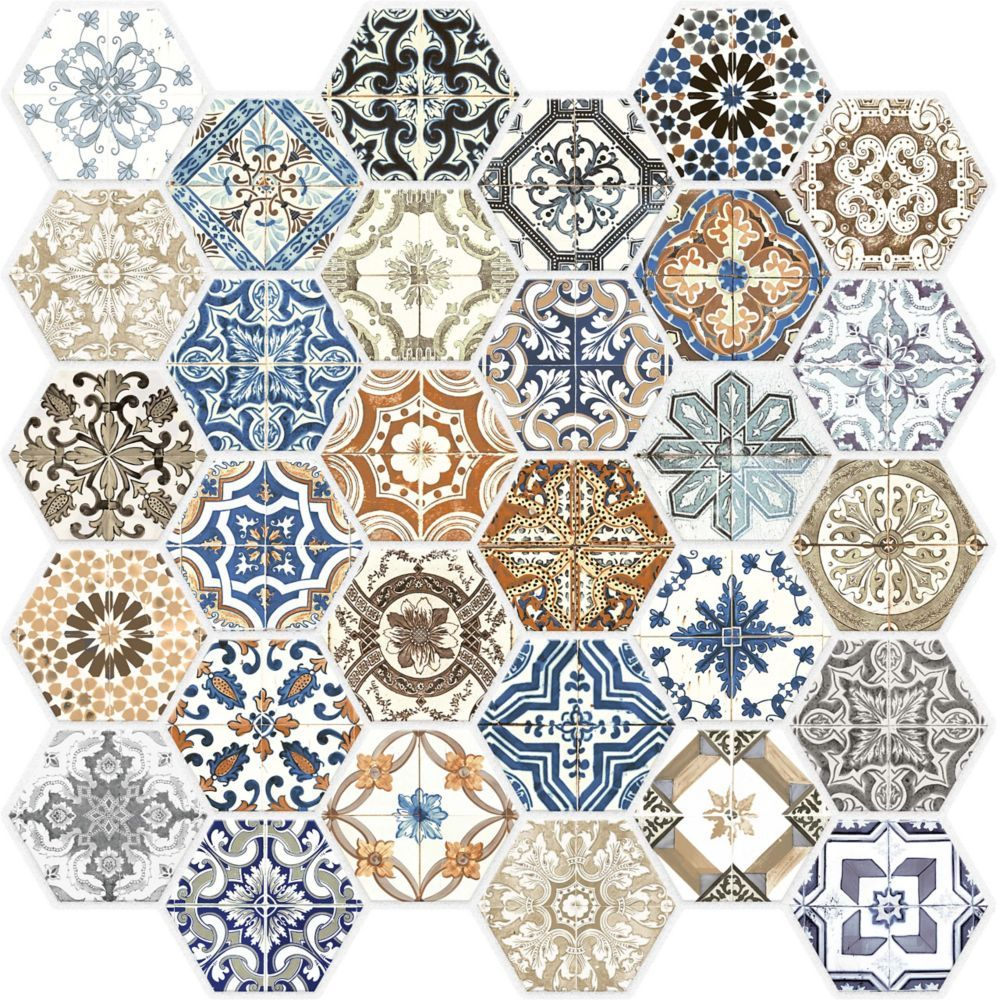 Marrakesh Glass Hexagon Mosaics I Love This I Ve Never Really Cared For Any Style Like This Beautiful Hexagonal Mosaic Hexagon Mosaic Tile Marrakesh Tile