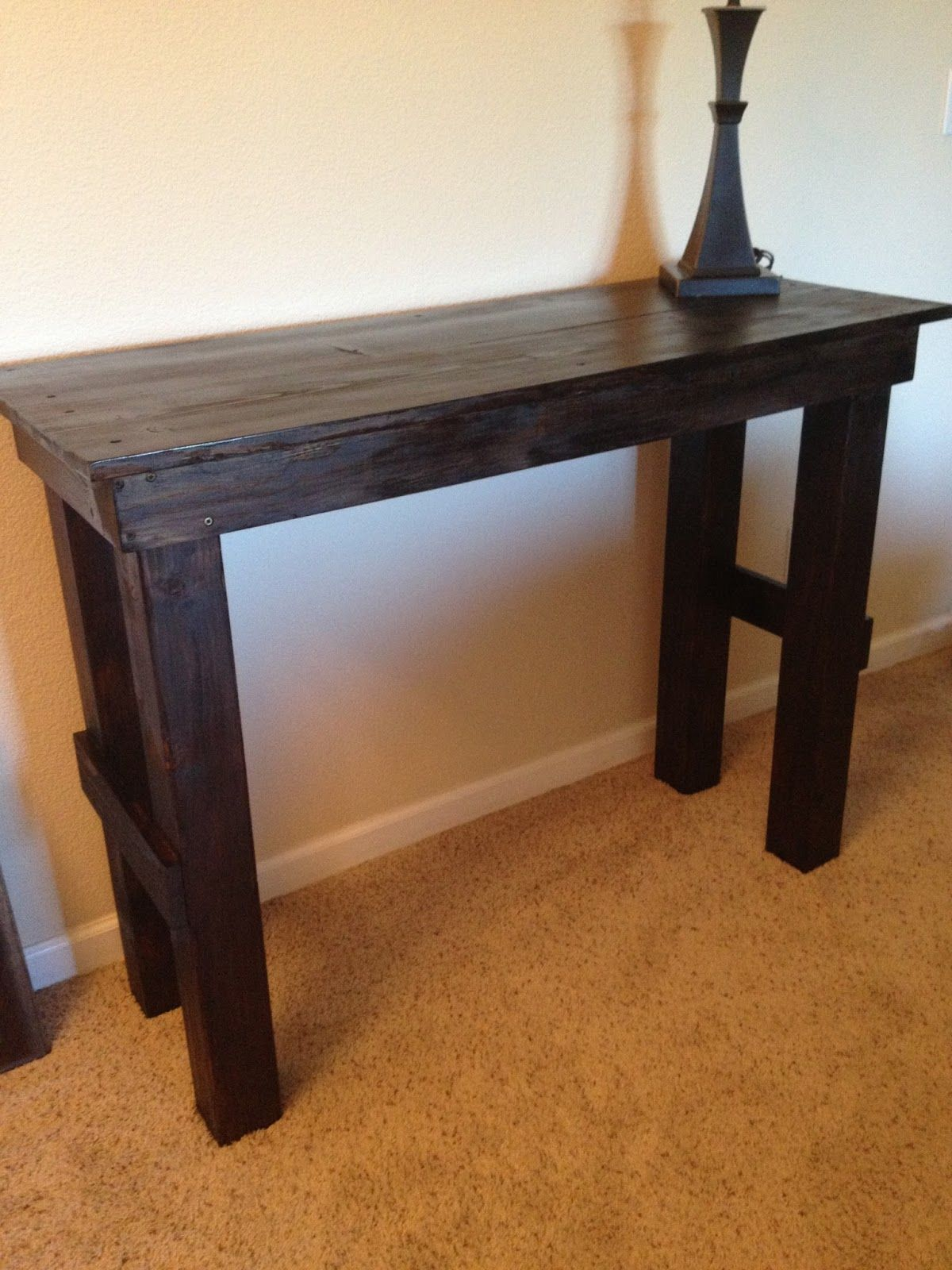 Diy Simple Entry Table 40 To Build Sturdy Solidwood Stained