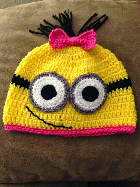 bb75c382e06ee Yellow Minion inspired hat with pink brim