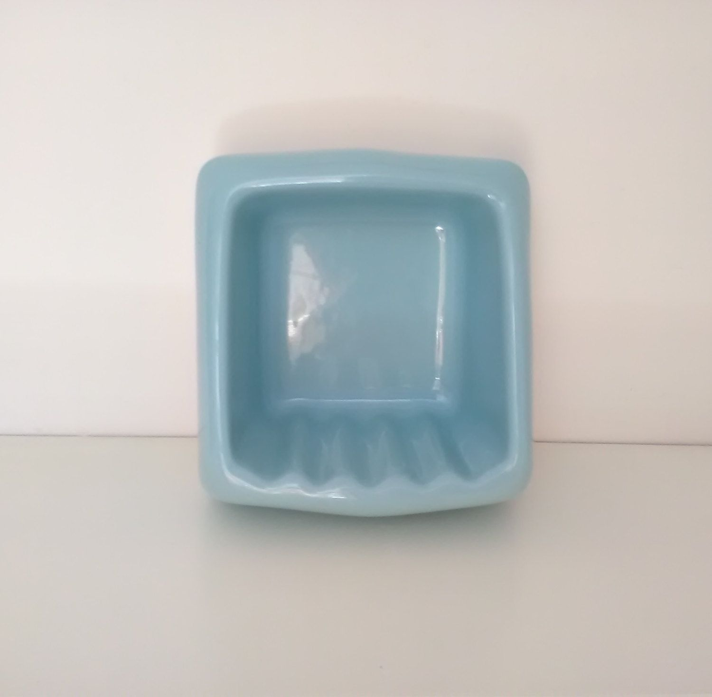 Vintage cyan soap dish bathroom accessories porcelain for Mattonelle da muro