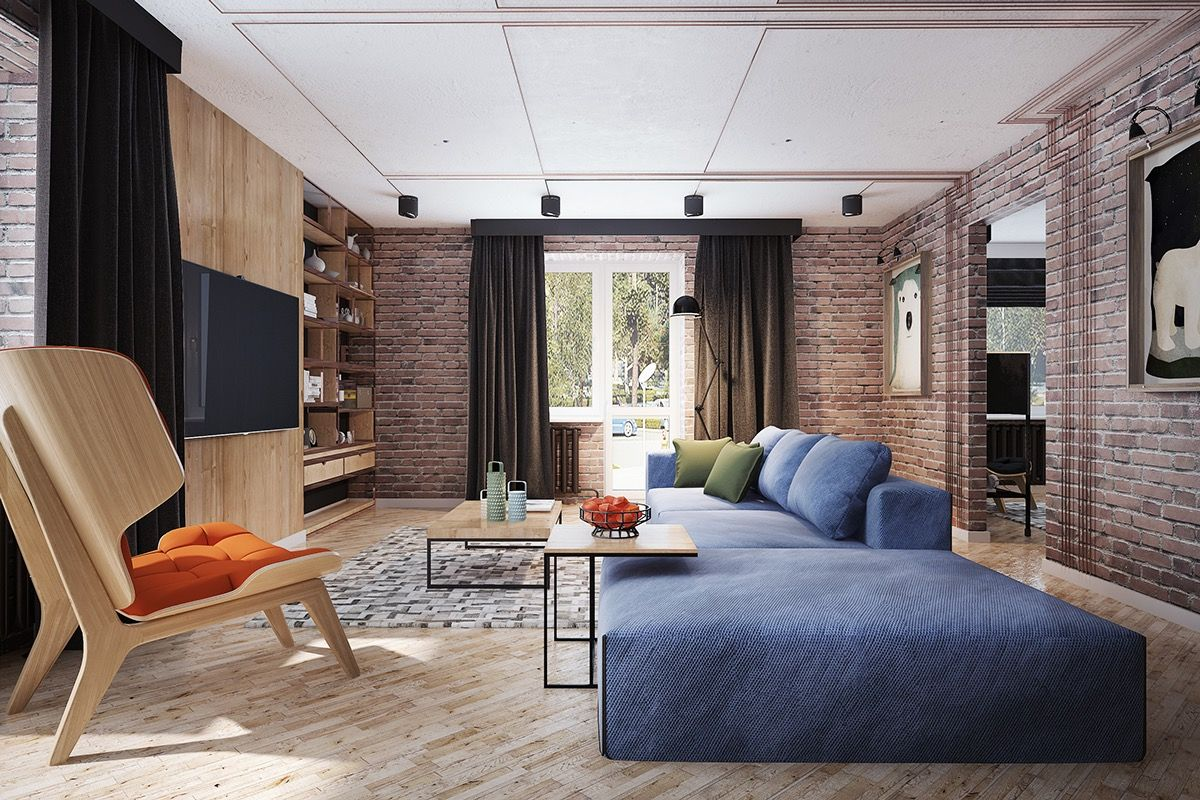 Living Rooms With Exposed Brick Walls Brick Wall Living Room Industrial Living Room Design Contemporary Living Room Design