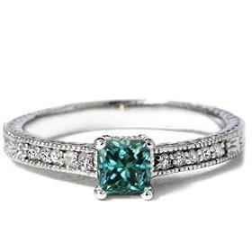 Princess Cut Antique Engraved Blue Diamond Ring