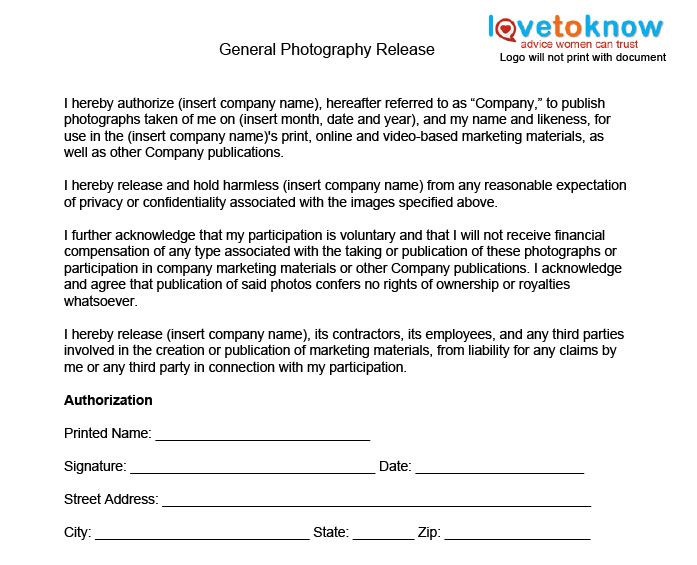 General Photography Release Form  Photography