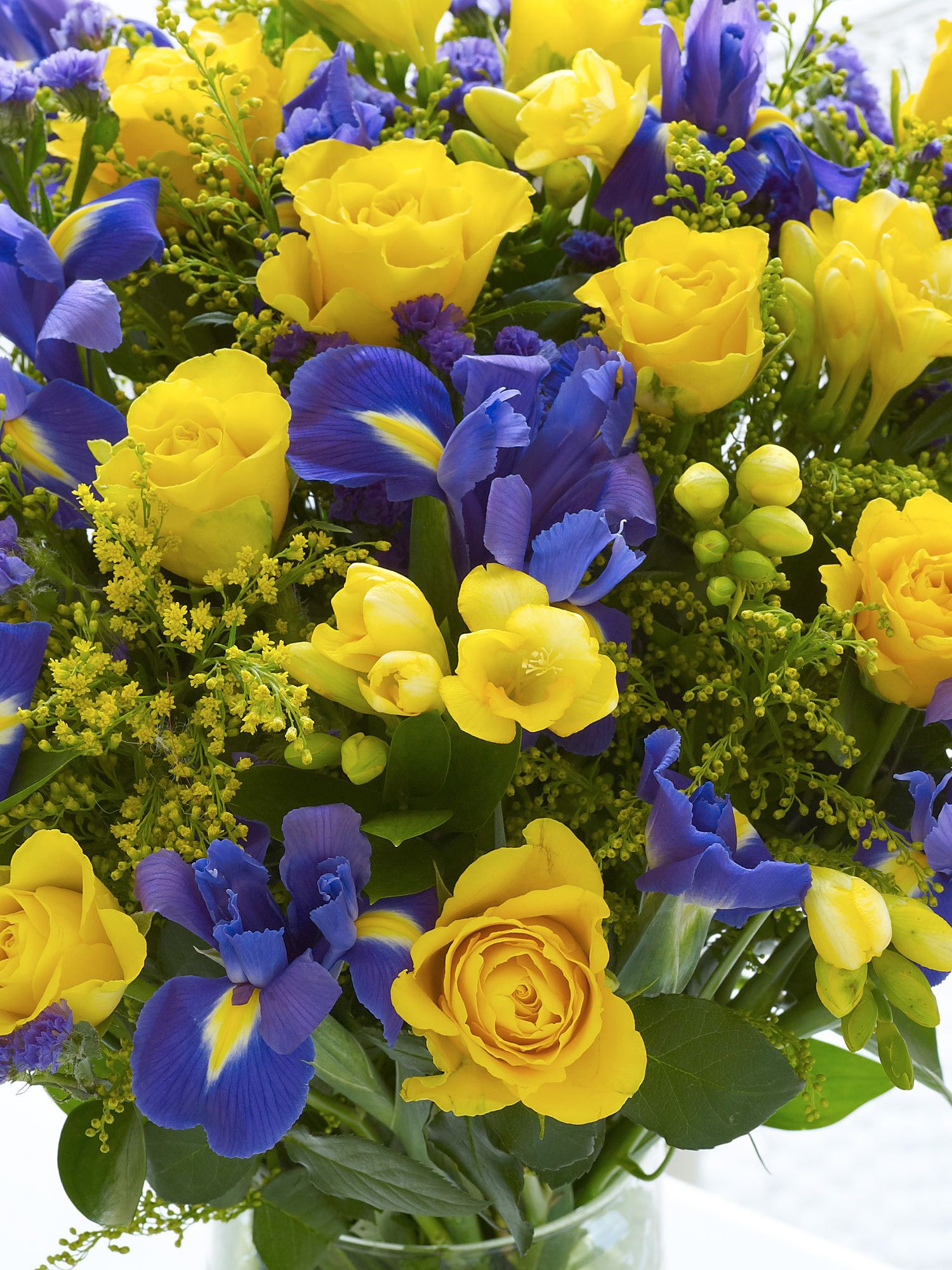 Rose And Iris Hand Tied Interflora My Mam Just Adores Flowers