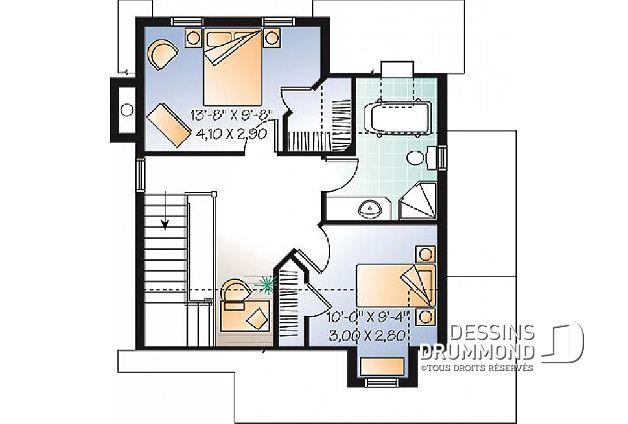 Étage - Plan de maison de style transitionnel avec influence du