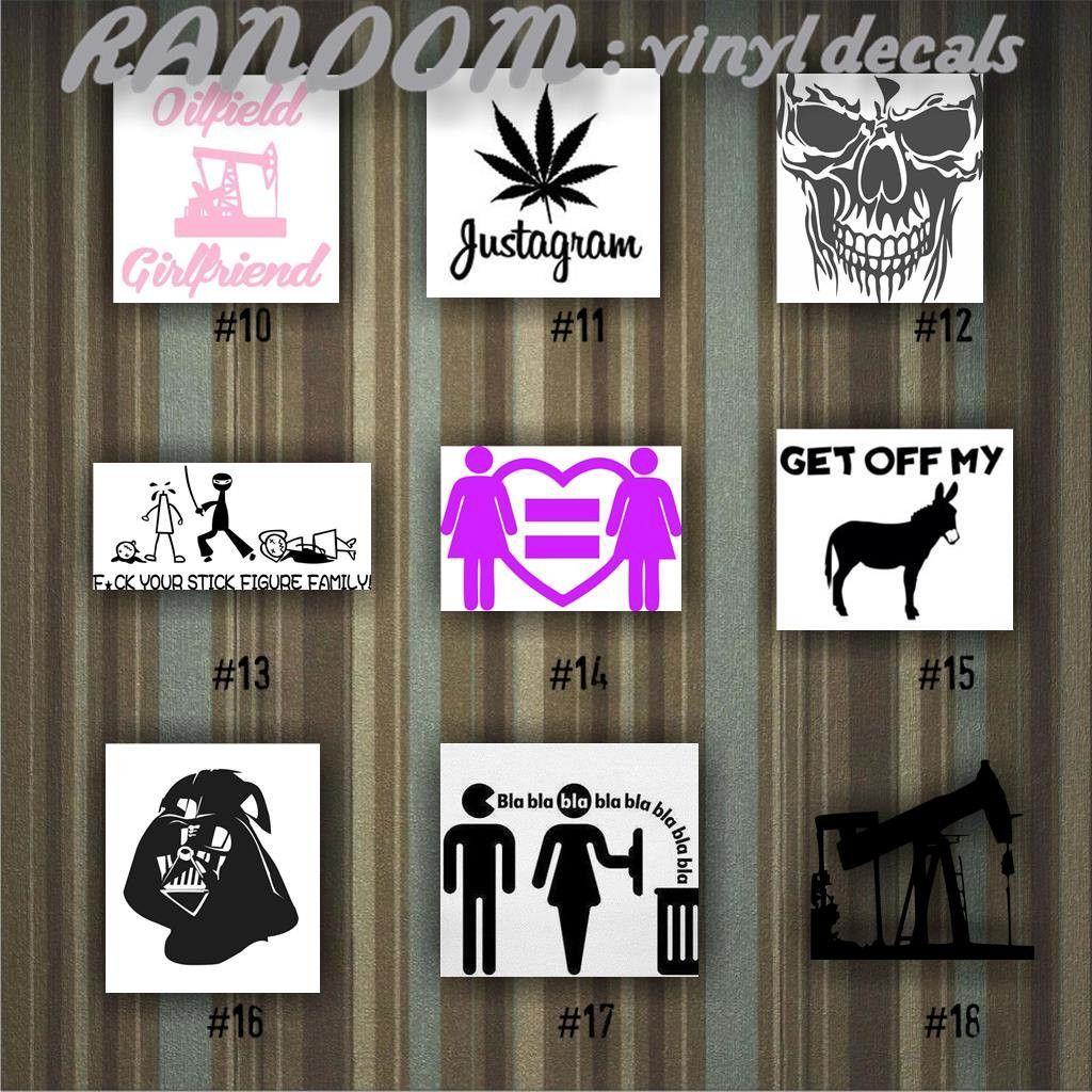 Random vinyl decals 10 18 car decal vinyl sticker random designs car window stickers custom sticker funny stickers fun decal