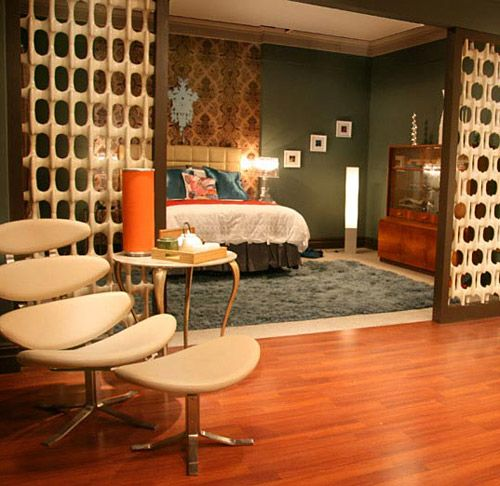 Mid Century Modern Bedroom With Screen And Mod Lounge Chair