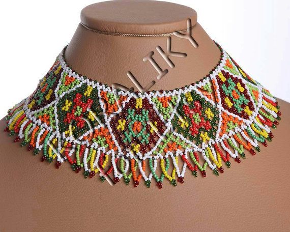 traditional ukrainian folk handmade beads beaded necklace gerdan multicolor