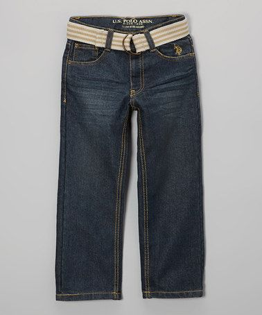 Take A Look At This Washed Crinkle Belted Straight Leg Jeans Toddler Boys By U S Polo Assn On Zulily Today Straight Leg Jeans Boys Jeans Straight Leg
