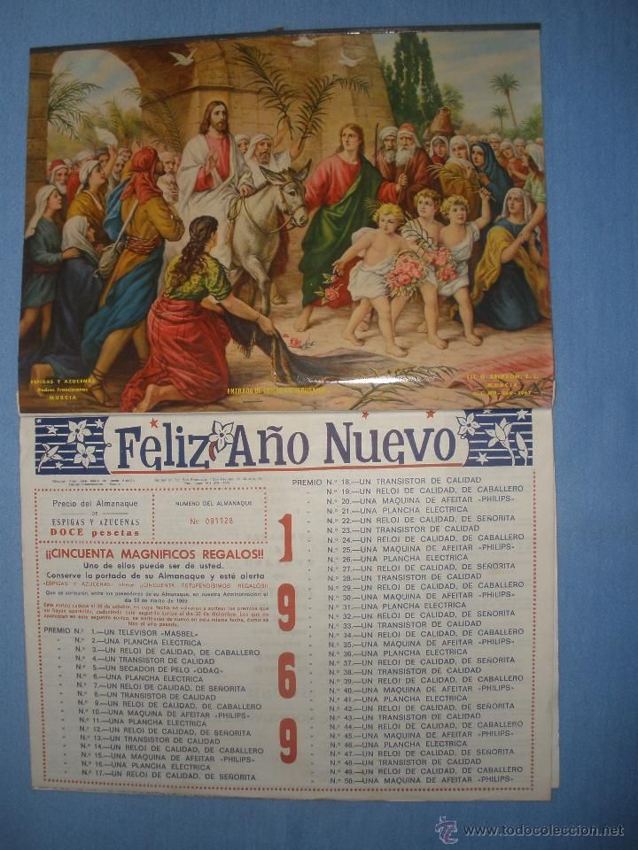 Calendario Del Ano 1969.Calendario De Pared Ano 1969 Nuevo Con Lamina Entrada De