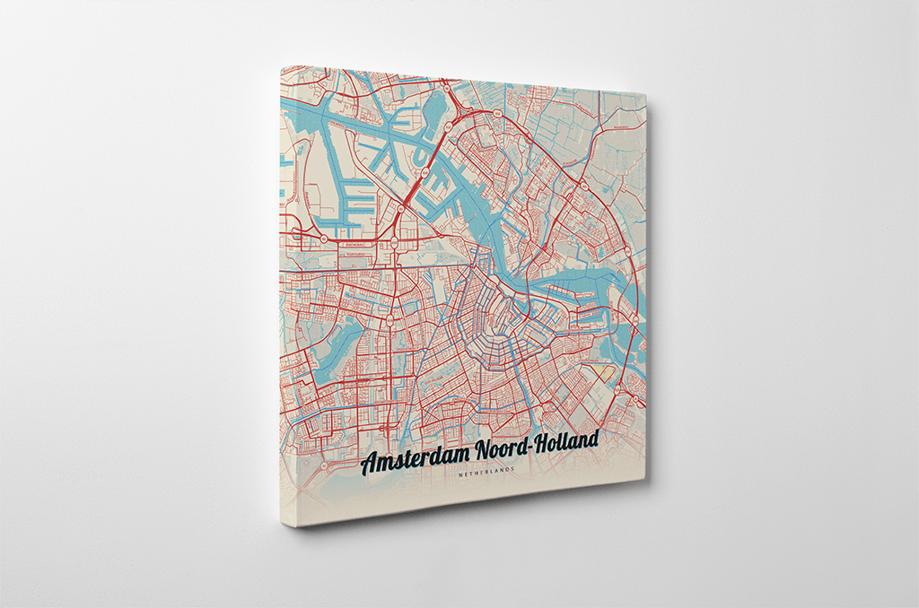 Gallery Wrapped Map Canvas of Amsterdam Noord Holland