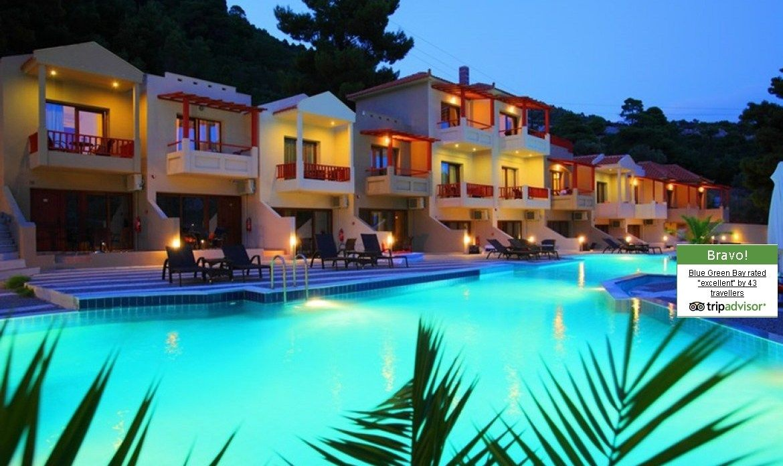 Blue Green Bay In Panormos Beach Skopelos Greece