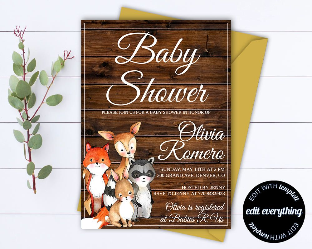 Rustic Baby Shower Invitation Template Girl Baby Shower Invite - Animal baby shower invitations templates