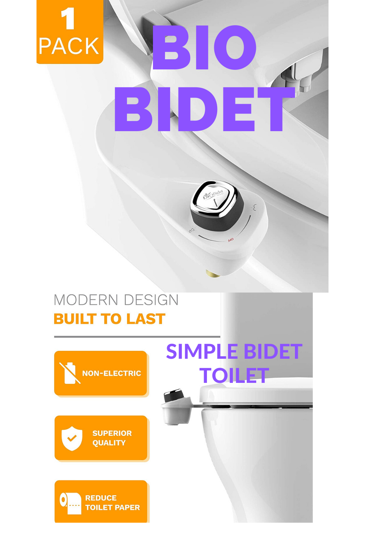 Bio Bidet Slimedge Simple Bidet Toilet Attachment In White With Dual Nozzle Fresh Water Spray Non Electric Easy To Insta