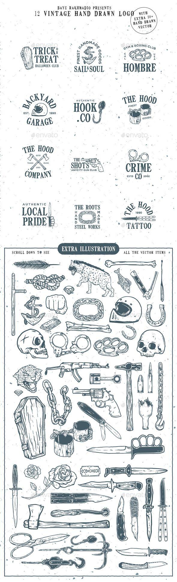 12 Vintage Logo + 50 Extra Illustrations