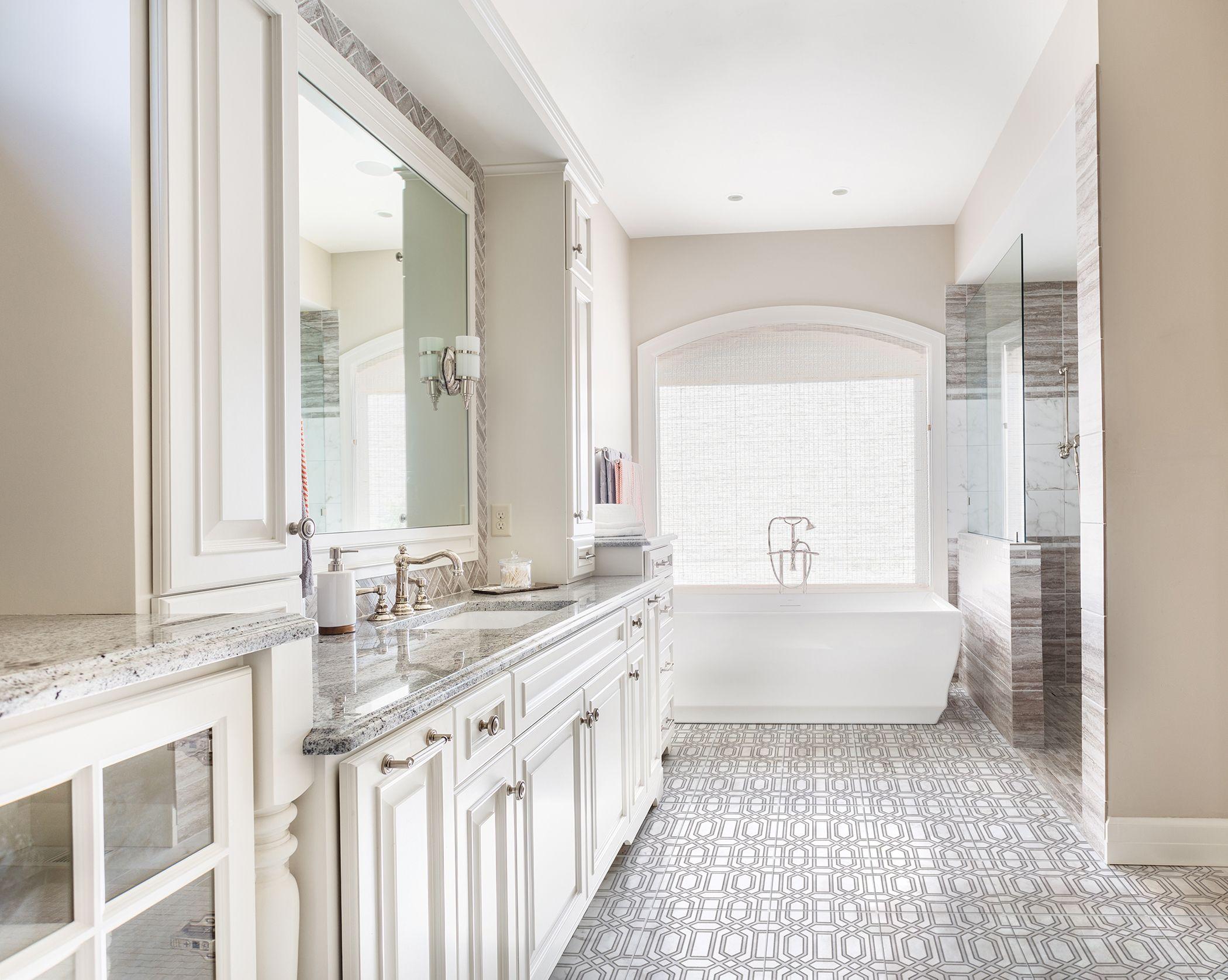 The modern Alto pattern works elegantly as a master bathroom floor ...