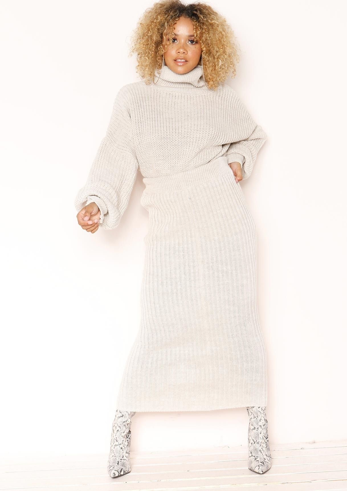 6a7aa0e30f65 Vicki Beige Knit Jumper Midi Co-ord Set | ⚡ in with the new ...