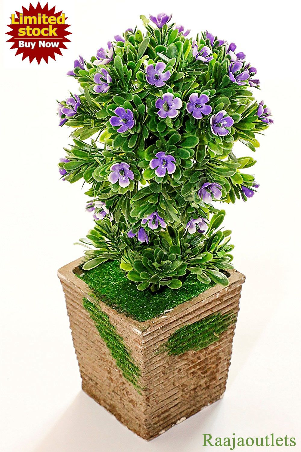 Beautiful Green Purple Artificial Bonsai Plants With Pot For Home