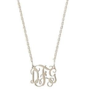 Monogrammed Filigree Necklace in Small Sterling Silver