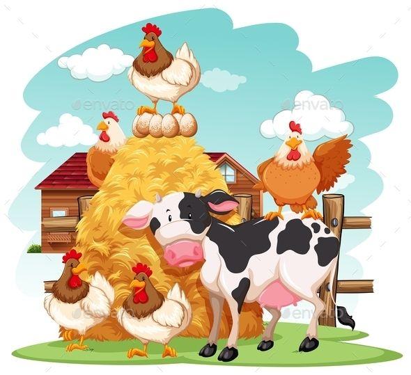 Animals Farm Clip Art Farm Animals Cow Vector
