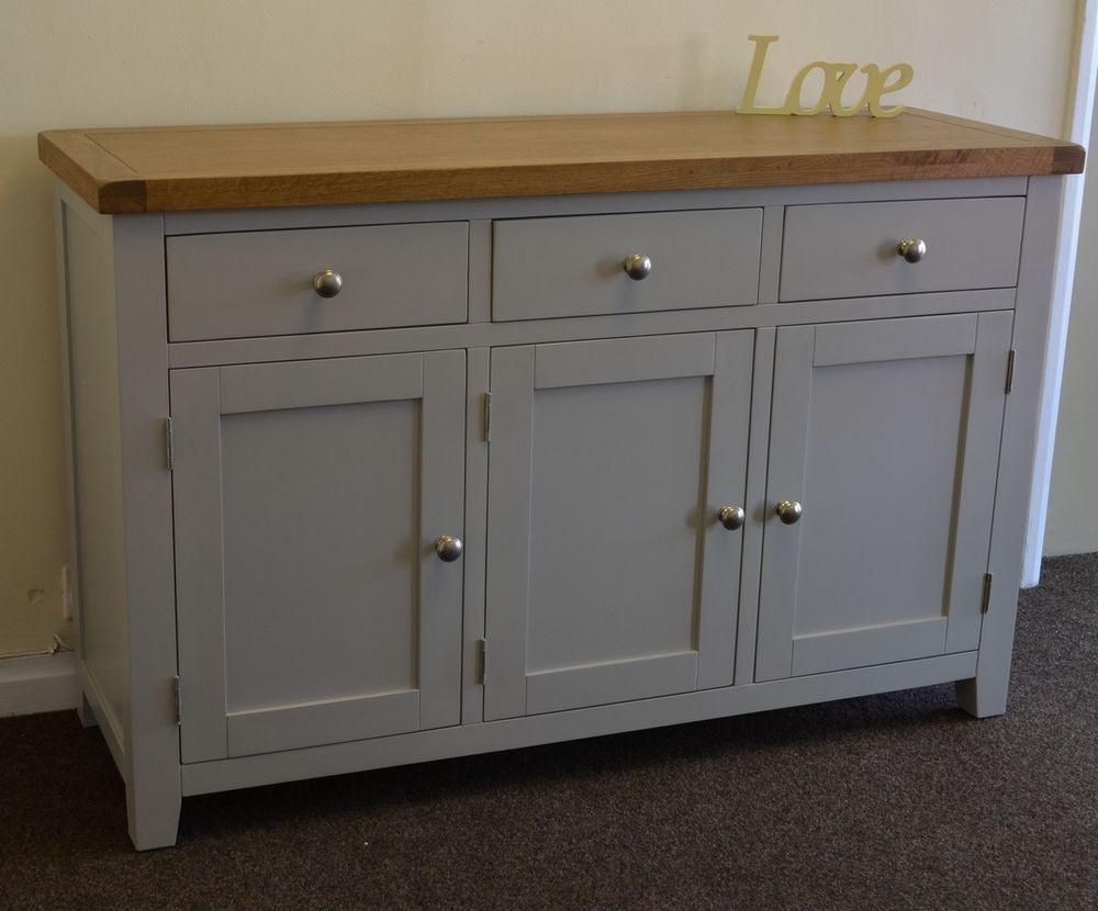 Best Dorset French Grey Painted Oak Pine 3 Door Sideboard 400 x 300