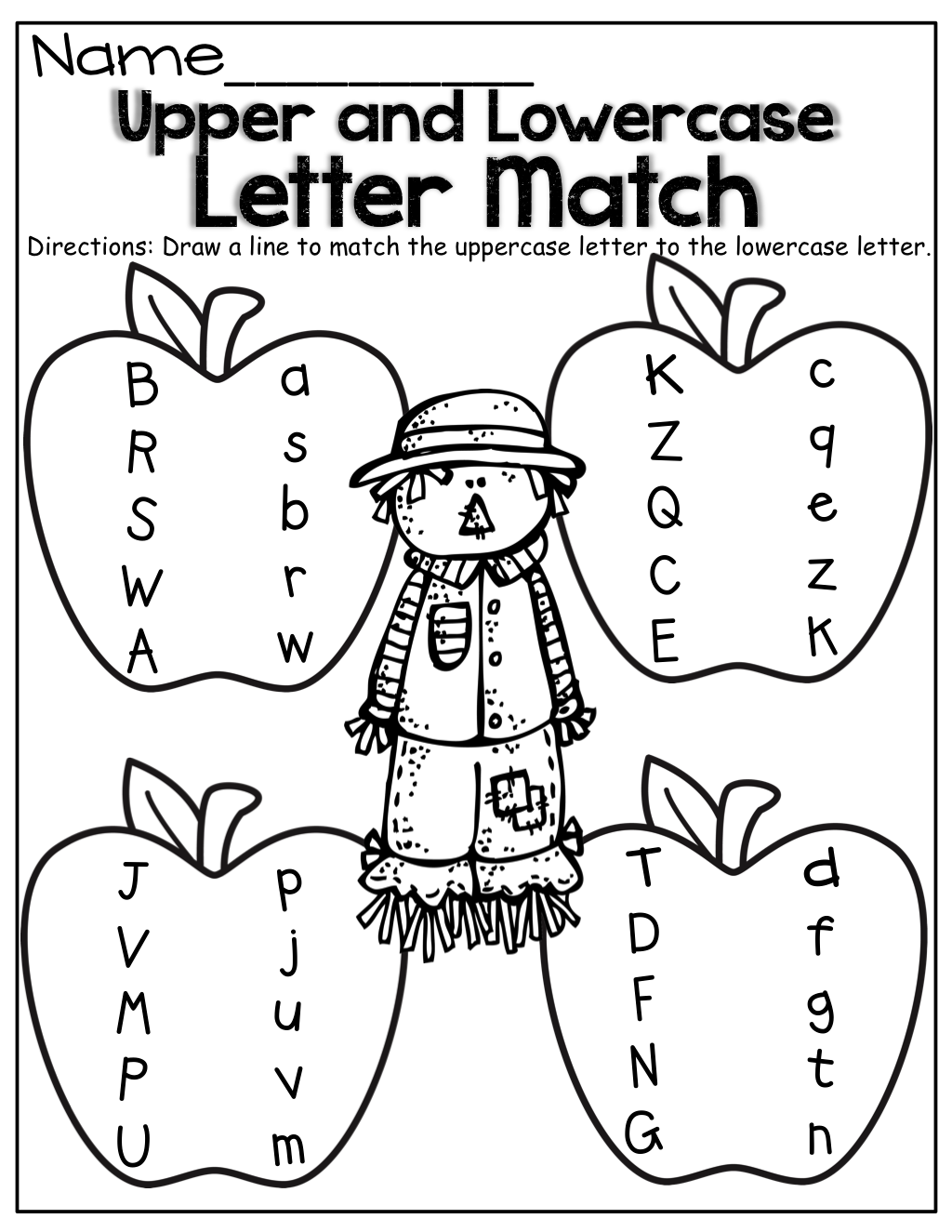 FREEBIE Harvest Time Letter Matching Worksheet Fun fall – Letter Matching Worksheets