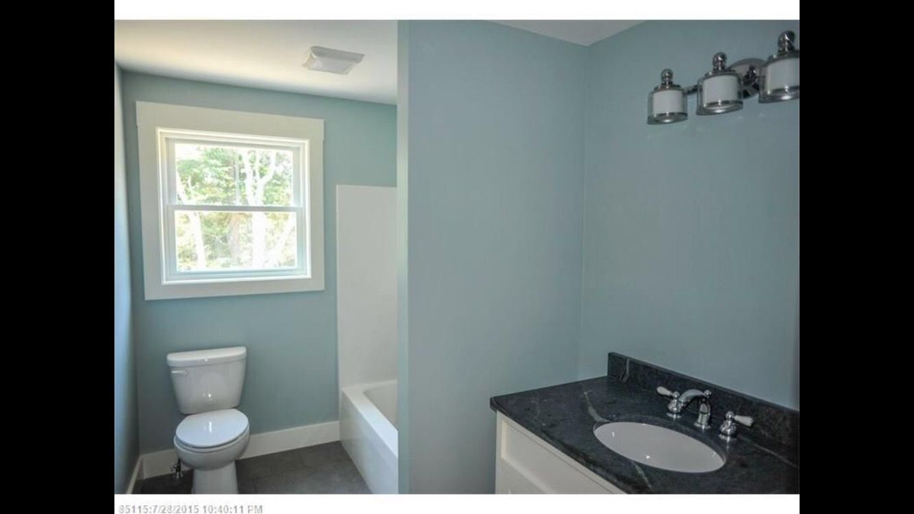 Guest bath-center horizontal window and tub under window. Line up ...