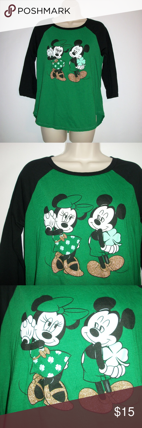 aa232af79 Cute Mickey and Minni St.Patricks Day Baseball Tee Disney Womens size Large  Mickey & Minnie Mouse St.Patricks Day Baseball T-shirt This sweet shirt  pictures ...