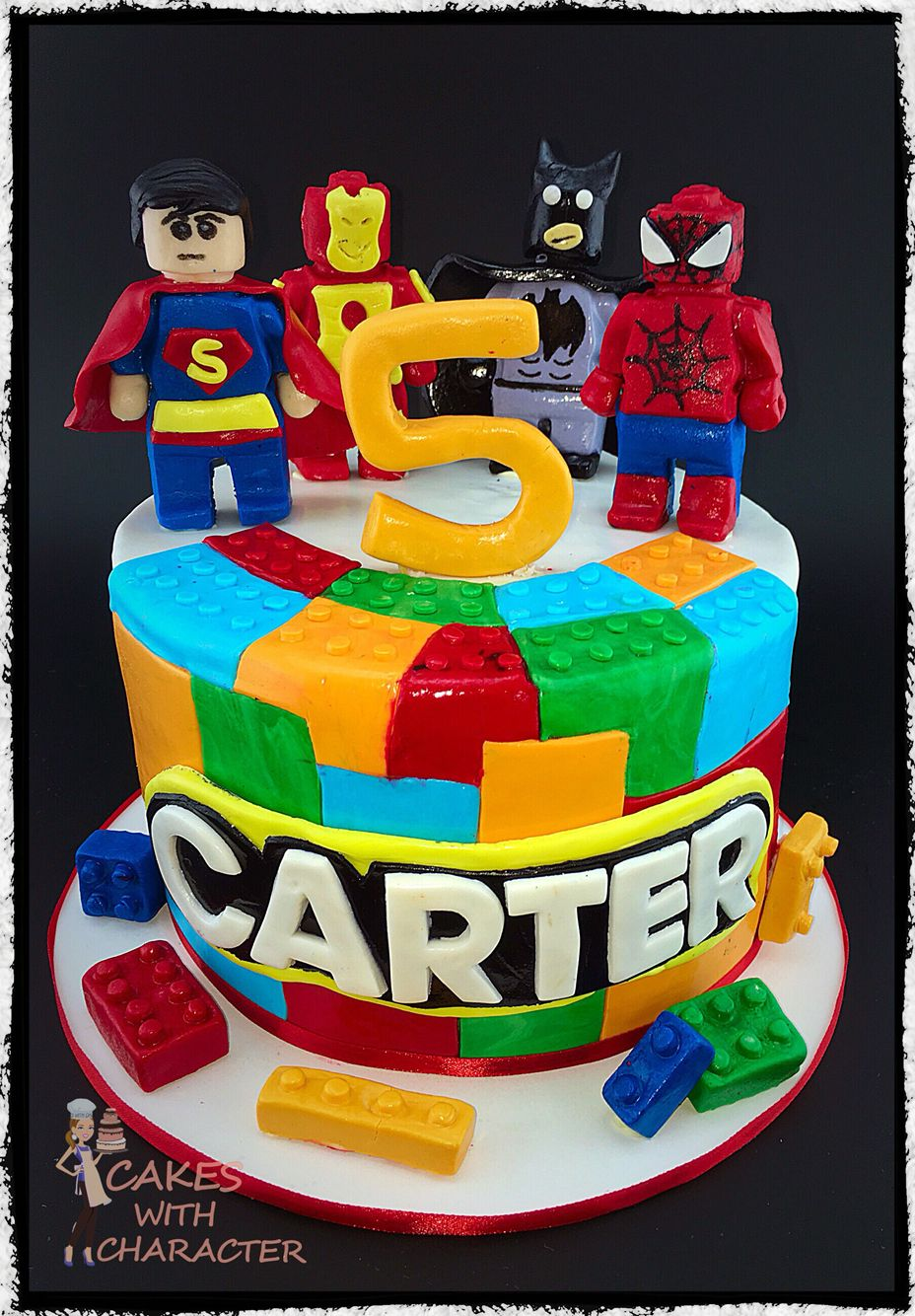 5th birthday Lego cake with avengers themed fondant Lego men
