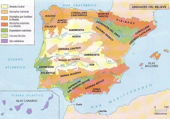 Mapa Relieve De España Para Niños.Sabes Las Principales Montanas De Espana Mapa Interactivo