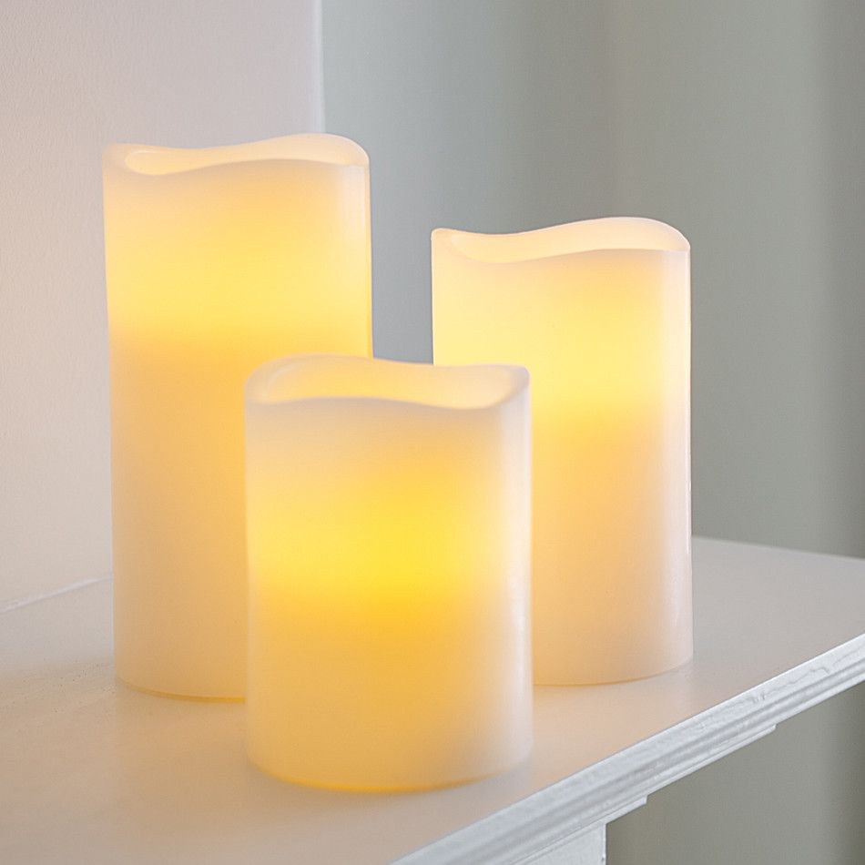 Lot Bougie Led 3 Wax Battery Operated Led Pillar Candles Garden Led Cuisines