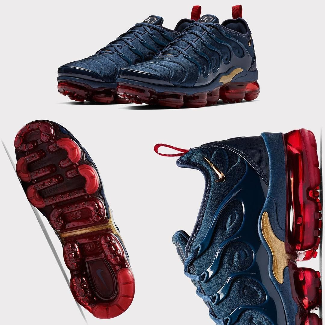 "7c54fdaa1ab Super Clean ""Olympic"" Vibes On The Vapormax Plus 🇺🇸🥇 Men s Sizes Are  LOADED....🚩🏟"