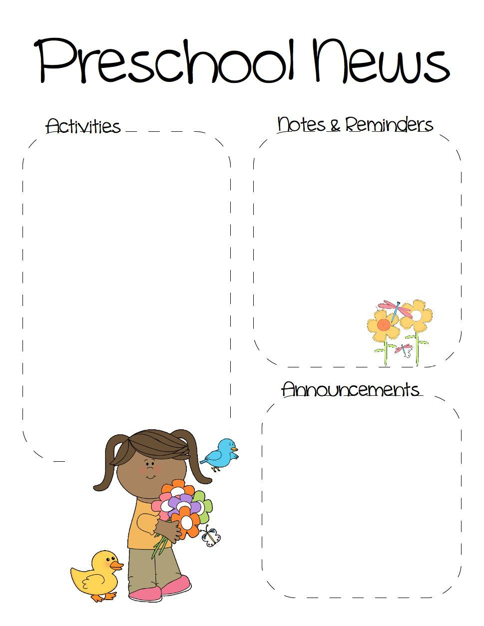 Spring Preschool Newsletter Template  Preschool Newsletter