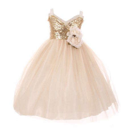 ced6805f5 Buy Little Girls Champagne Sequin Trim Layered Tulle Flower Girl Dress at  Walmart.com