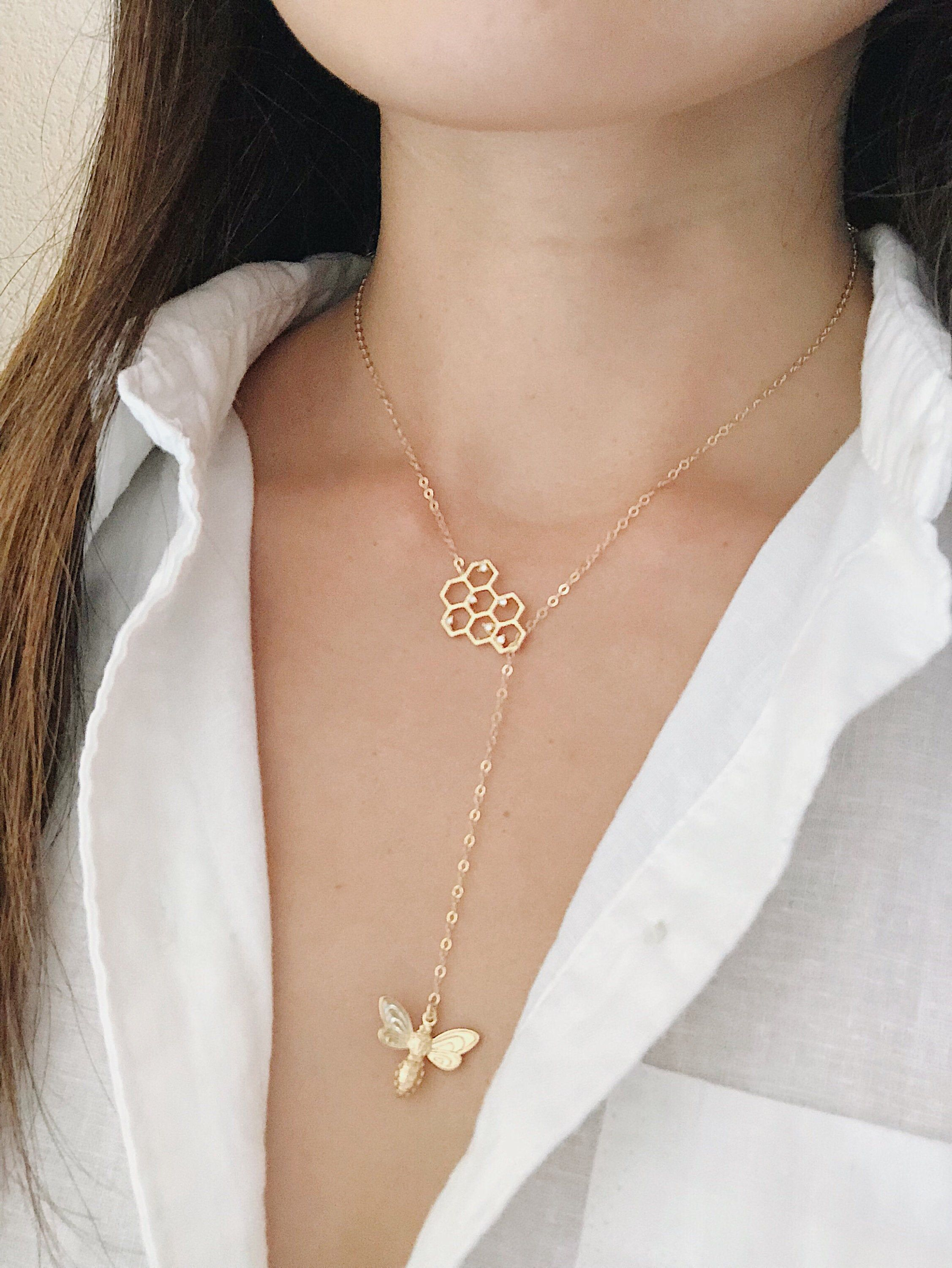 Photo of Honeycomb Bee Lariat Necklace – Gold Honeycomb Necklace, Bee Lariat, Gold Bee Necklace, Dainty Jewelry, Honeybee Necklace, Dainty