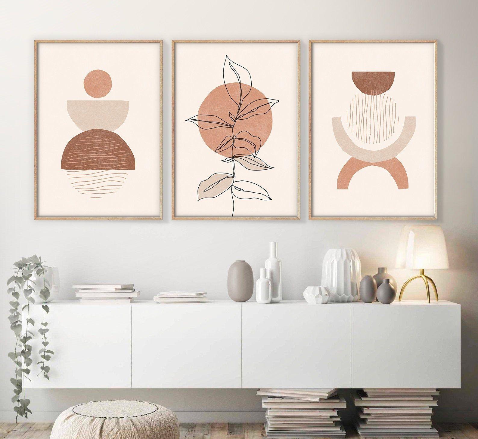 Boho Art Set Of 3 Prints Abstract Gallery Wall Set Boho Wall Etsy Boho Wall Art Gallery Wall Gallery Wall Set