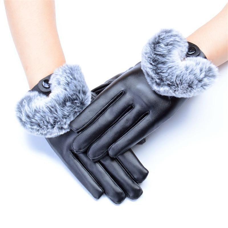 Fashion Women Imitation Leather Gloves Outdoor Autumn Winter Warm Fur Mittens