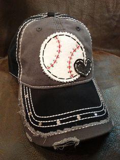 Baseball love distressed baseball hat
