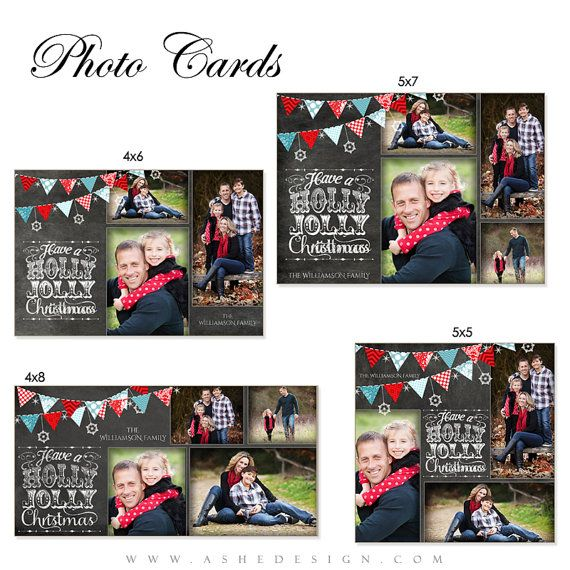 Christmas Photo Card Set Chalkboard Holly Jolly Christmas 4 Cards 4x6 4x8 5x5 5x7 Digital Photoshop Templates For Photographers Christmas Card Template Christmas Photo Cards Christmas Card Design