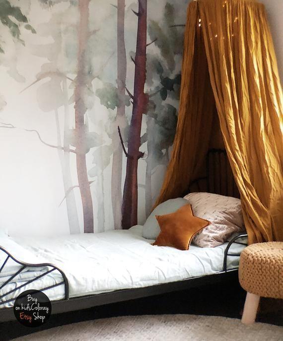 Natur, Wald-Wandbild, Stick und schälen, Gloomy, Bäume Tapete, Aquarell Tapete, Kinder Zimmer Wandwandbild, Baby, Kinderzimmer Tapete #5