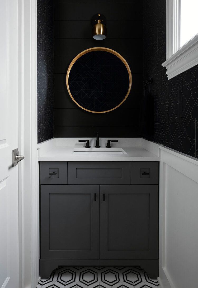 Remember Our Concept Of Balancing Bold Moody Accents With Bright Airy Spaces The Powder Room Was The P Round Mirror Bathroom Powder Room Wallpaper Powder Room