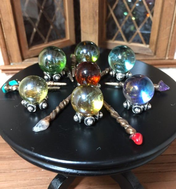 Miniature Crystal Balls or Wizard Wands for a One Inch Scale Halloween or Haunted Dollhouse.