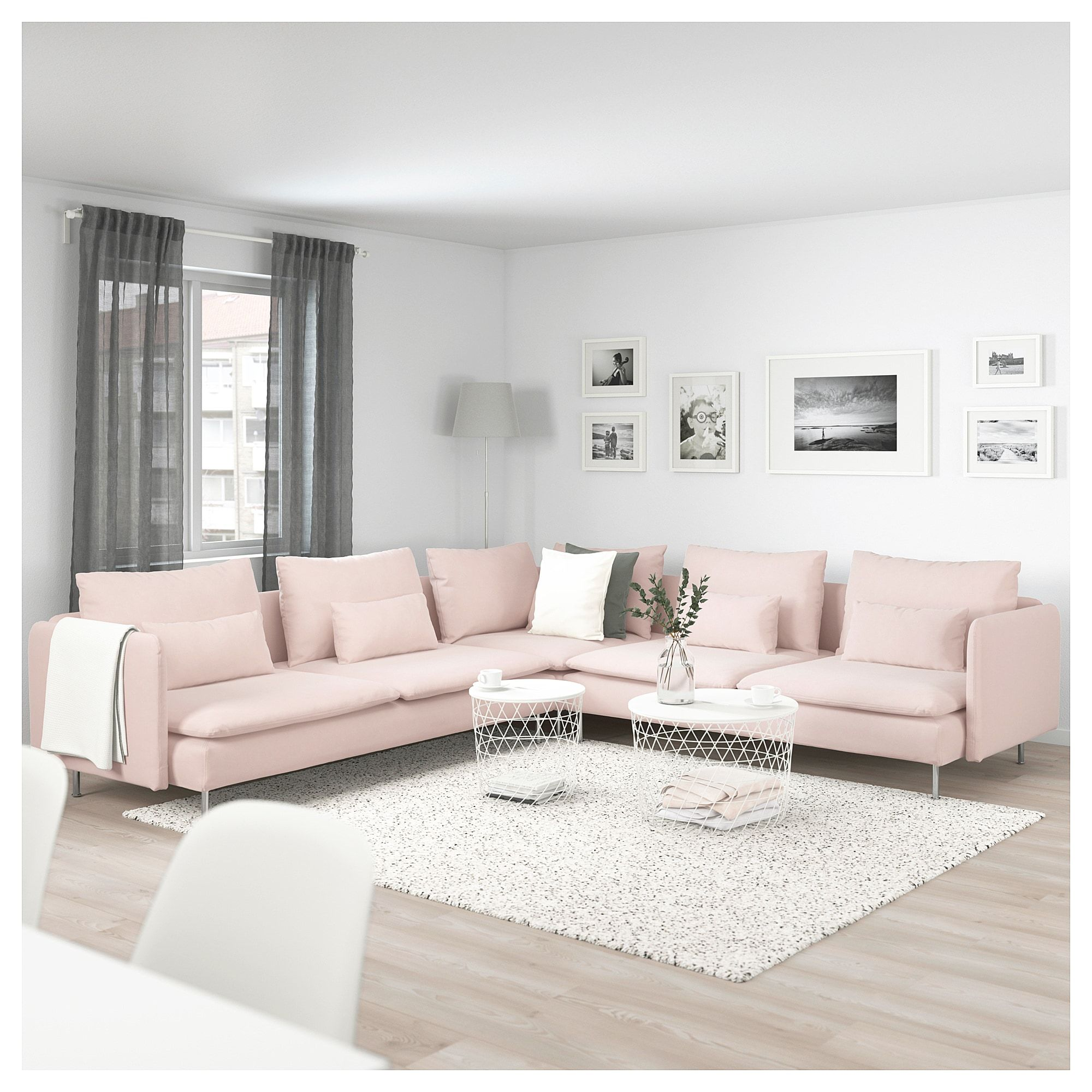 Soderhamn Sectional 5 Seat Samsta Light Pink Living Room Decor Cozy Living Room Decor Apartment Apartment Living Room