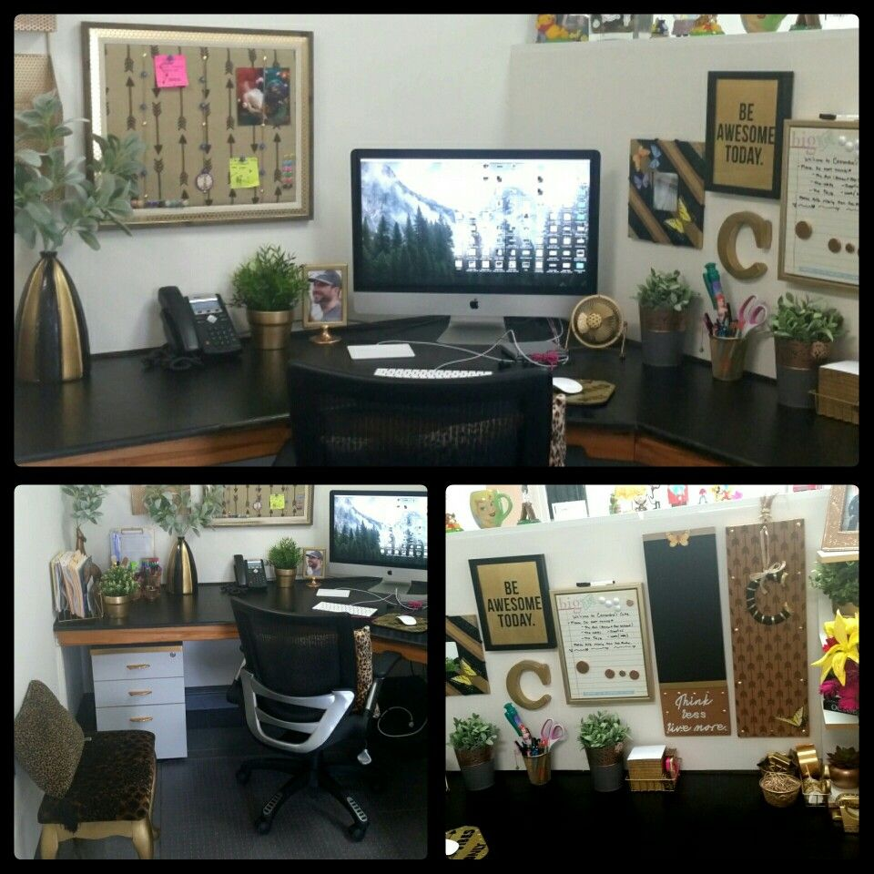 decorated my ugly plain cubicle with gold and rosegold