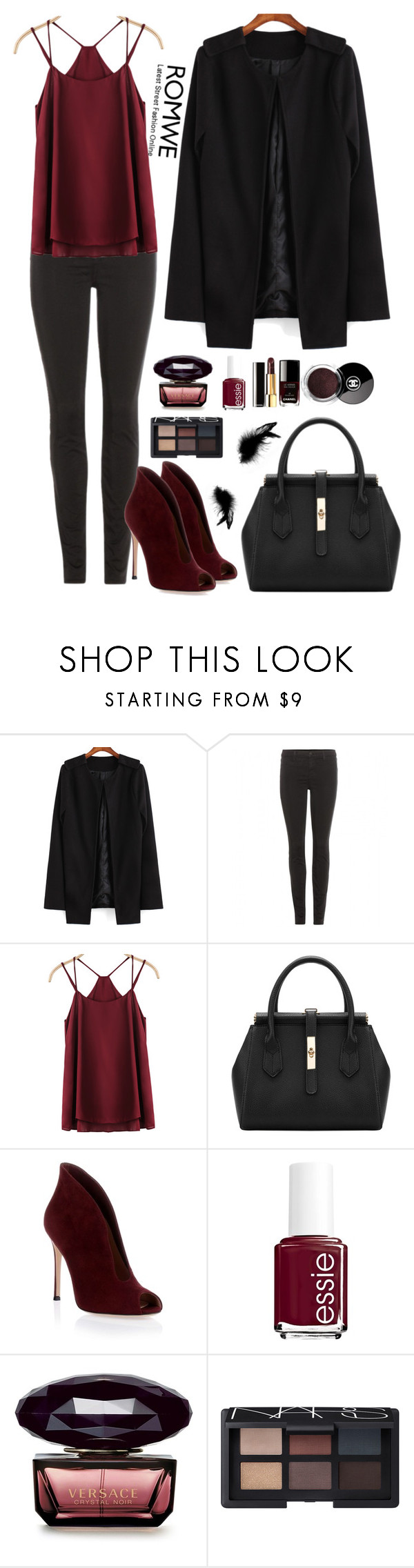 """""""Romwe 7"""" by amra-f ❤ liked on Polyvore featuring J Brand, Gianvito Rossi, Chanel, Essie, NARS Cosmetics, Fall, 1d, romwe and 5sos"""