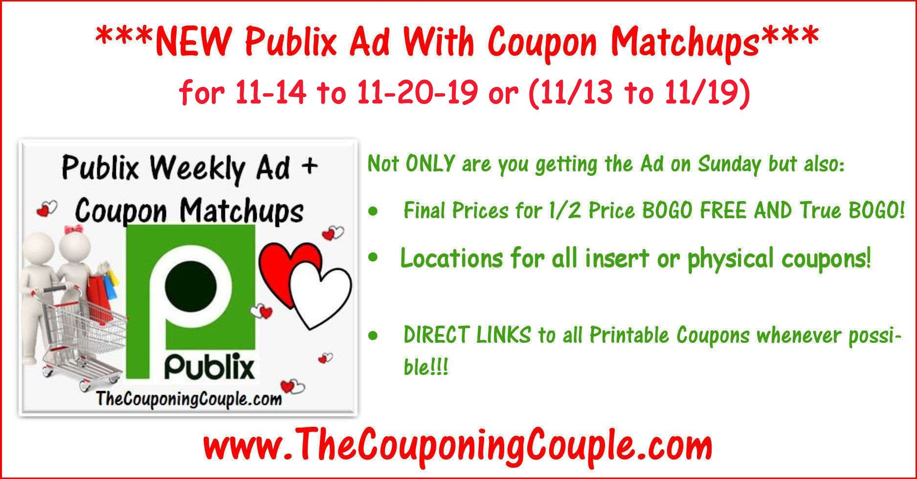 Publix Coupon Matchups For 11 14 To 11 20 19 Or 11 13 To 11 19 Coupon Matchups Publix Coupons Coupons