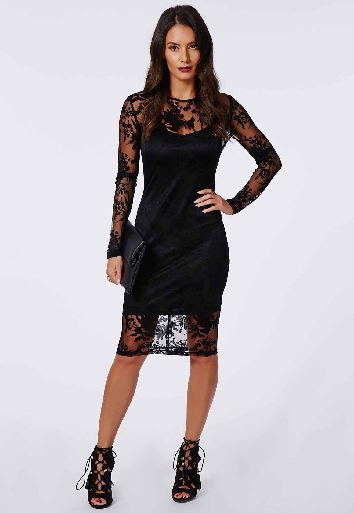 Black Lace Long Sleeve Dress Photo Album - Klarosa